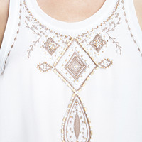 LOVE 21 Semi-Sheer Beaded Top Ivory/Cocoa