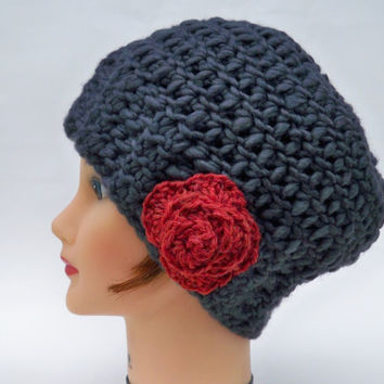 Crocheted Cloche - Women's Chunky Hat With Flower - Wool Blend Granite Rose Beanie - Winter Fashion - Warm Headwear - Head Covering
