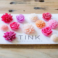 SALE! Cute Decorative Flower Fridge & Locker Magnets - Set of 12 - Betta: Hot Pink/Purple/Coral/Pale Pink Roses, Dahlias, Peonies