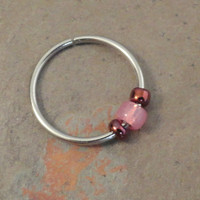 Pink and Magenta Cartilage Hoop Earring Septum Tragus Nose Ring Upper Ear Piercing 20 GaugePink