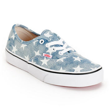 Vans Girls Authentic Washed Stars Blue Shoe