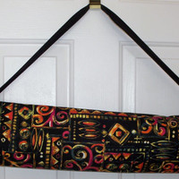 Yoga Mat Carrier, Bag, Tote, Pilates Mat Bag, Handmade Sports Bag, Black Multicolor Print, Large or Regular Size Yoga Mat Bags, Handmade