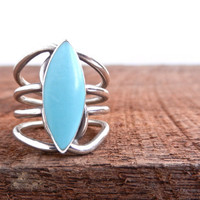 Vintage Sterling Silver Ring   Baby Blue Size 6 by MaejeanVINTAGE