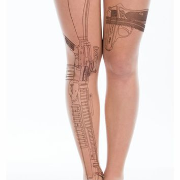 Machine Gun Garter Belt Tattoo Tights - GoJane.com
