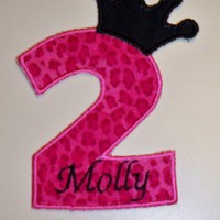 Large crown cheetah leopard birthday number two iron on patch | UniqueEmbroideries - Accessories on ArtFire