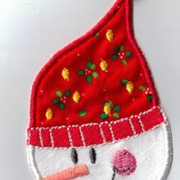 Christmas snowman embroidery iron on applique patch | UniqueEmbroideries - Seasonal on ArtFire