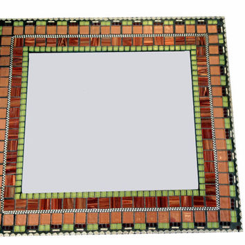 Mosaic Wall Mirror in Bronze, Maroon, Green and Silver -- Wall Art, Decorative Mirror, Accent Piece, Handcrafted Mixed Media Mosaic