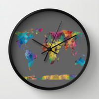 Colorful Geometric Map Wall Clock by Color and Form | Society6