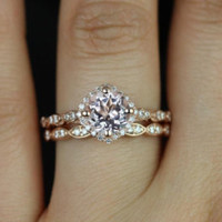 Conflict Free Christie 14kt Rose Gold Pink Diamond Cushion Halo WITH Milgrain Wedding Set