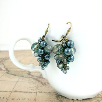 Stormy Seas - Swarovski Crystal Pearl Cluster Earrings - Seafoam Green Czech Glass Leverback Earrings Dusty Teal and Bronze - Antique Brass