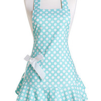 Jessie Steele Apron Josephine Aqua and White Polka Dot