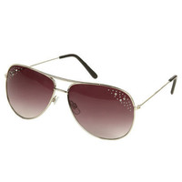 Rhinestone Trim Aviator Sunglasses | Shop Accessories at Wet Seal