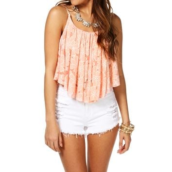 Promo-Pink Floral Shirt Tail Top