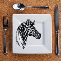 Mr Zebra Hand Painted Side Plate by RKArtwork on Etsy