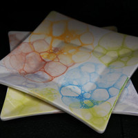 Hand Painted Set of Two Bubble Plates by TheWhimsicalWays on Etsy