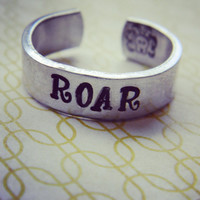 Roar lion cuff hand stamped ring
