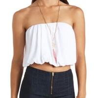 PLEATED CHIFFON TUBE TOP