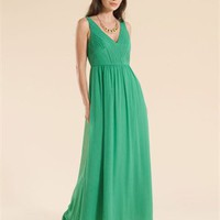 A-line Deep V-neck Pleated Bodice Ankle Length Chiffon Prom Dress PD1867