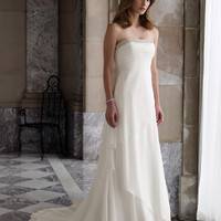 Elegant White Sheath/Column Strapless Neckline Wedding Dress-SinoSpecial.com