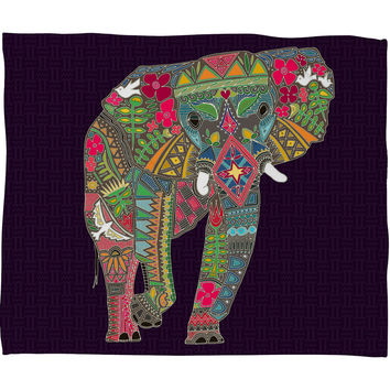Sharon Turner Painted Elephant Purple Fleece Throw Blanket