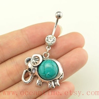 turquoise Belly Button Rings, elephant belly button jewelry,lucky Navel Jewelry,friendship bellyring,oceantime