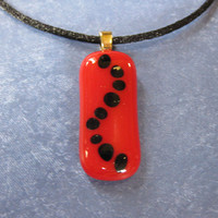 Red Black Necklace, Small Pendant, Fused Glass Jewelry, Polka Dot Jewelry - French Knots - 2115 -1