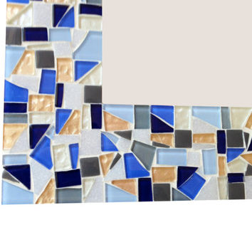 Wall Mirror, Mosaic Home Decor, Blue Gray White Gold