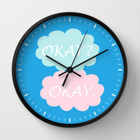 Okay Okay - Thyroid Cancer Awareness Colours Blue Pink and Teal, The Fault in Our Stars Wall Clock by BeautifulHomes | Society6