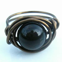 Swarovski Pearl Ring In Black And Antique Brass | Luulla