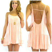 Wynwood Peach Sleeveless Babydoll Dress
