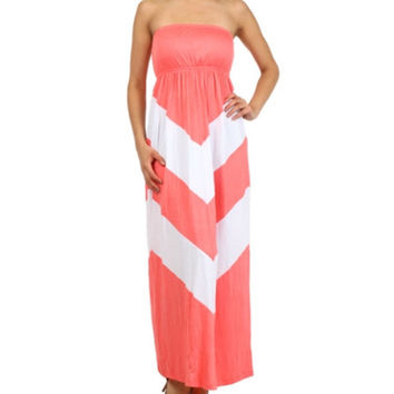 In Style Coral/White Halter Maxi Dress
