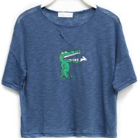 Crocodile Pattern Cropped Tee - OASAP.com