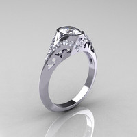Classic 14K White Gold Oval White Sapphire Diamond Wedding Ring, Engagement Ring R194-14KWGDNWS