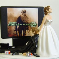 VIDEO GAME &#x27;junkie&#x27; GROOM  Bride With Strapless by awesometoppers