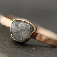 Rough Large Diamond Stacker Ring in 14k Gold Size D by Specimental