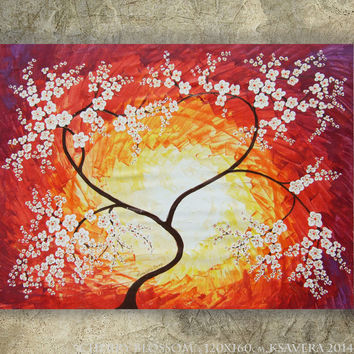 "CHERRY BLOSSOM Large painting 48""x64"" Red Sunrise Modern Acrylic landscape Original extra large wall art unstretched canvas XXL sakura"