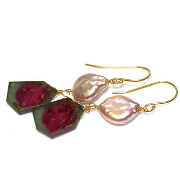 Huge Watermelon Tourmaline Earrings Tourmaline Earrings Tourmaline Jewelry Long Earrings Coin Pearl Earrings Tourmaline Slice Earrings
