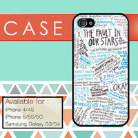 the fault in our stars custom design available for iphone 4/4s,5/5s/5c and samsung galaxy S3/S4/S5 case