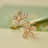 Opal Flowers Rhinestone Cuff Ring (Adjustable Band)