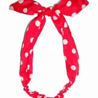 Tied Bow Polka Dot Headwrap Headband