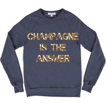 Bow & Drape, sweatshirts, champagne, bedazzled, comfy shirts, weekend wear, lounging around, champagne is the answer, soft materials