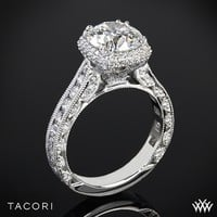 18k Rose Gold Tacori RoyalT Cushion-Style Bloom Diamond Engagement Ring for 2ct Center