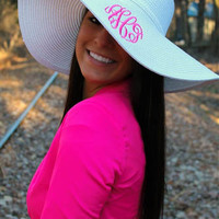Monogrammed White Floppy Hat