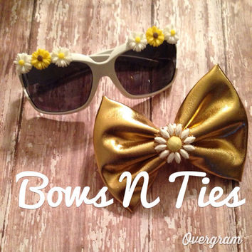 Adorable toddler sunnies and gold metallic bow summer sunflowers fun in the sun