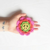 Groovy Flower Hair Clip Barrette in Pink, Tangerine and Lime with Yellow Peace Bead, ready to ship