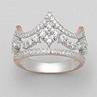 .925 Sterling Silver Glamorous Crown Princess Queen Design Fashion Cubic Zirconia Plating 14k Pink Gold Plate, Rhodium Women Ladie Girls Ring Band