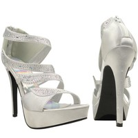Womens Dress Platform High Heel Sandals Strappy Rhinestone Embellishments Silver 5.5-10