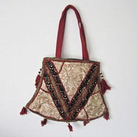 Vintage Indian handcrafted embroidery patch work mirror work, Indian cotton stain dye shoulder jhola, purse bag 028