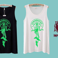 Starbucks Mermaid Shirts Tank Top Unisex Adults T Shirt Clothing American Apparrel Screen Printing Trending Item