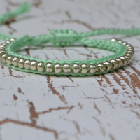 Beaded Crochet Friendship Bracelet  Mint and Silver by pkeelan